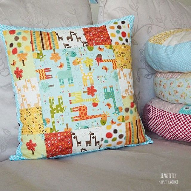 """☆ Wow! It's Giraffe! ☆ A pillow that matches his blanket and he is no longer interested in his sister's pillow  #sewing #handmade #craft #fabric…"""