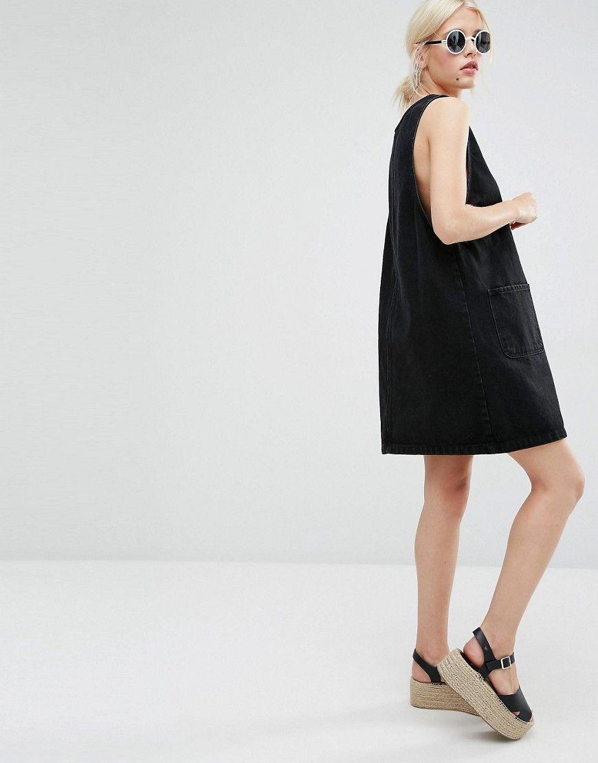 Image of monki denim pinny dress womenus lookbook pinterest