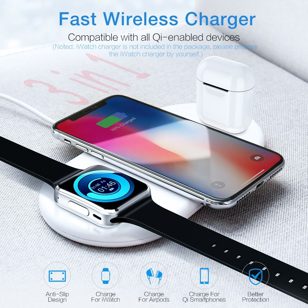 3 in 1 wireless charger for apple iphone 8 x xr xs max
