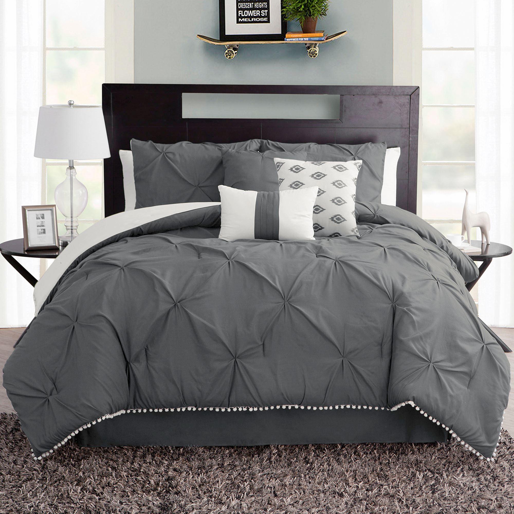 Callie Dark Gray Pintuck 7 Pc Comforter Bed Set Dark Bedroom
