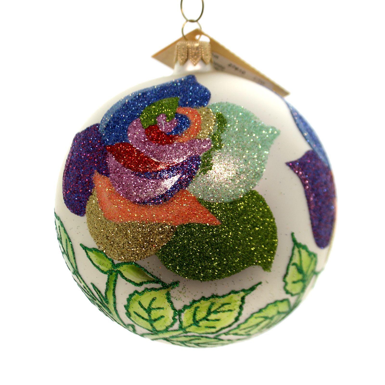 Rainbow Roses Glass Ornament