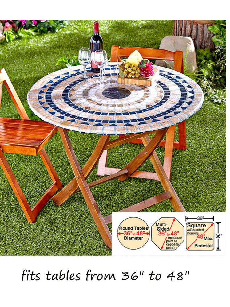 Mosaic Tile Elastic Fitted Vinyl Outdoor 48 Round Patio Table