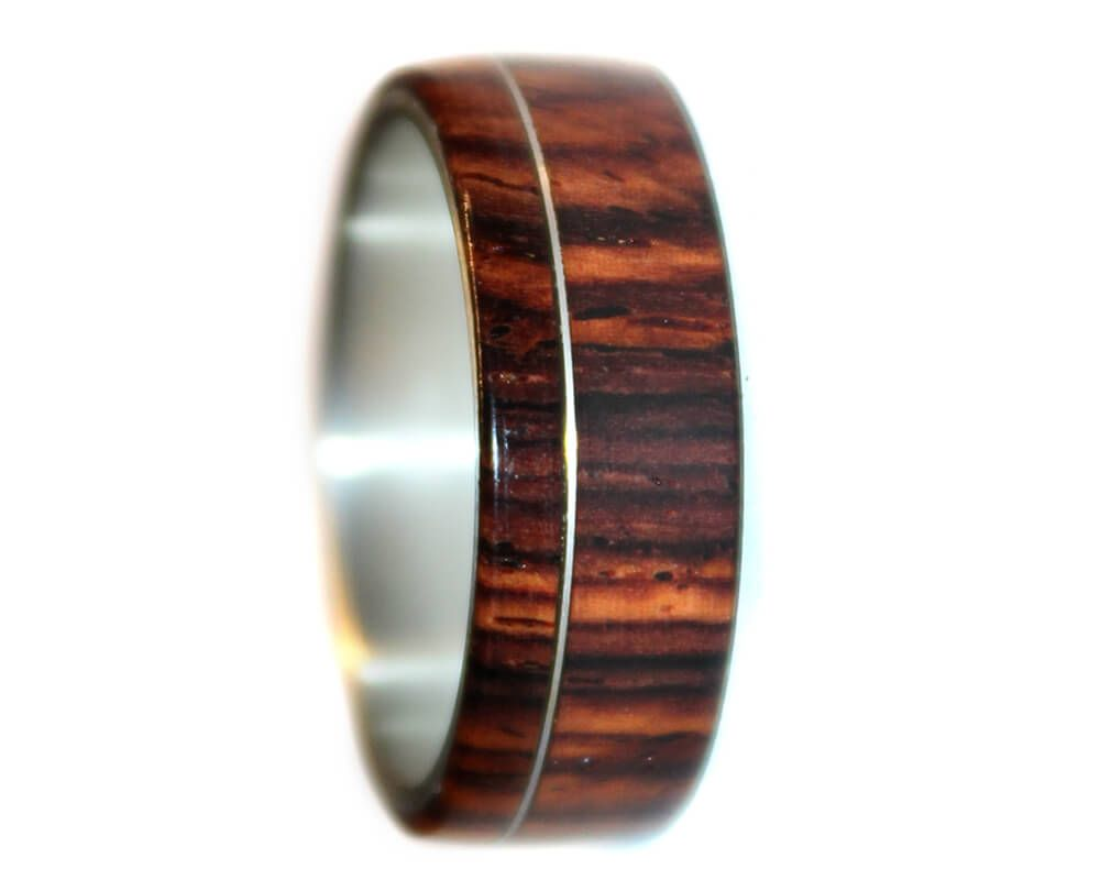 Wooden Ring of Cocobolo and Sterling Silver Any Size and Width
