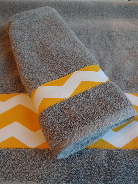 You Pick Size grey towel grey chevron yellow chevron by AugustAve, $15.00