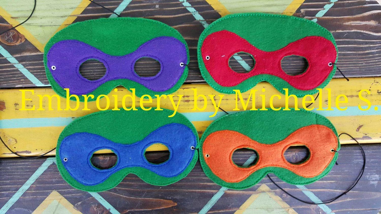 Turtles, Ninja, Face Mask, Felt Mask, Embroidered Mask, Kids, Birthday, Boy, Girl, Gift, Set of 4 Mask by EmbroiderybyShellS on Etsy