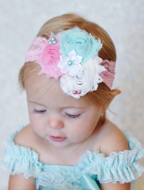 headband Fancy aqua and pink Shabby Headband c1a81765c6c