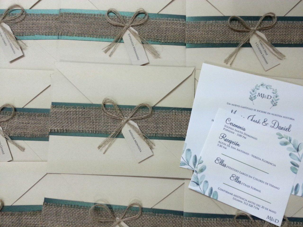 Tarjeta Invitación De Matrimonio Boda Rustico Con Yute