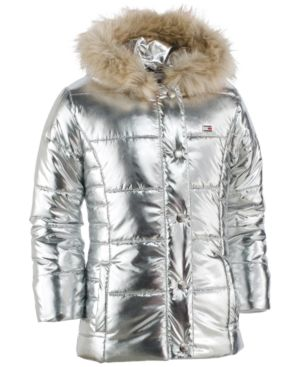 2c6d0548ba4f Tommy Hilfiger Hooded Peacoat Puffer Coat with Faux-Fur Trim