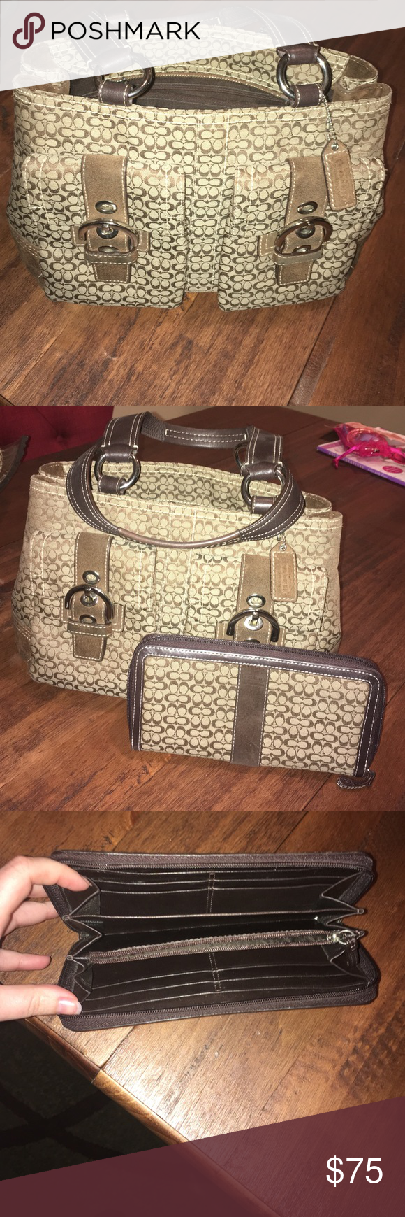 Coach handbag and matching wallet Brown Coach handbag and matching wallet. Both are in good condition with little to no wear. They have brown suede accents on both. Coach Bags Totes