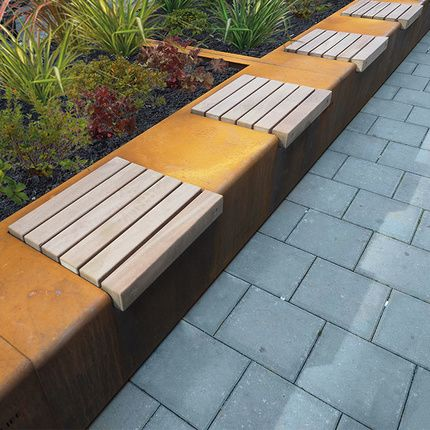 streetlife solid green benches these green benches are made of corten or weathering steel and. Black Bedroom Furniture Sets. Home Design Ideas