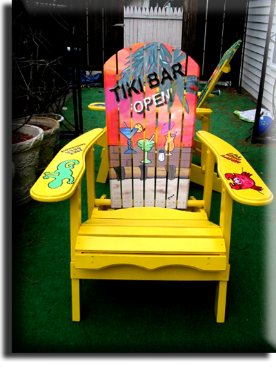 Adirondack Chair Yellow Tiki Bar Parrot Head Style Tropical Hand Painted  And Air Brushed Wood Outdoor