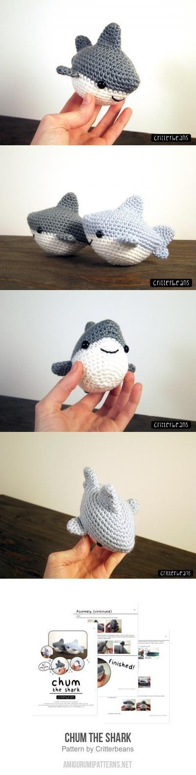 Chum the shark amigurumi pattern by Critterbeans | Tejido, Patrones ...