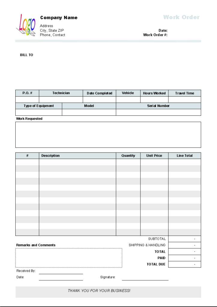 Work Order Format 329 Invoice Template Order Form Template Ticket Template