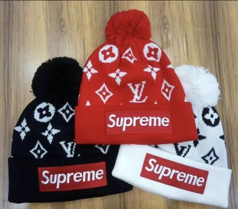 d53ee5354a5d7 LV Supreme Beanie  antheamarketplace  beanie  winterfashion  warm  fashion   fashiontrends  trendy  streetstyle  streetfashion  skullcap  hat  supreme  ...