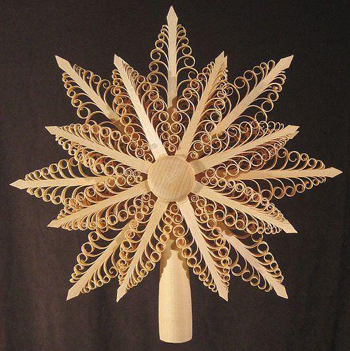 Hawaiian Christmas Tree Topper: Shaved Star Tree Topper German Ornament ORD216X010