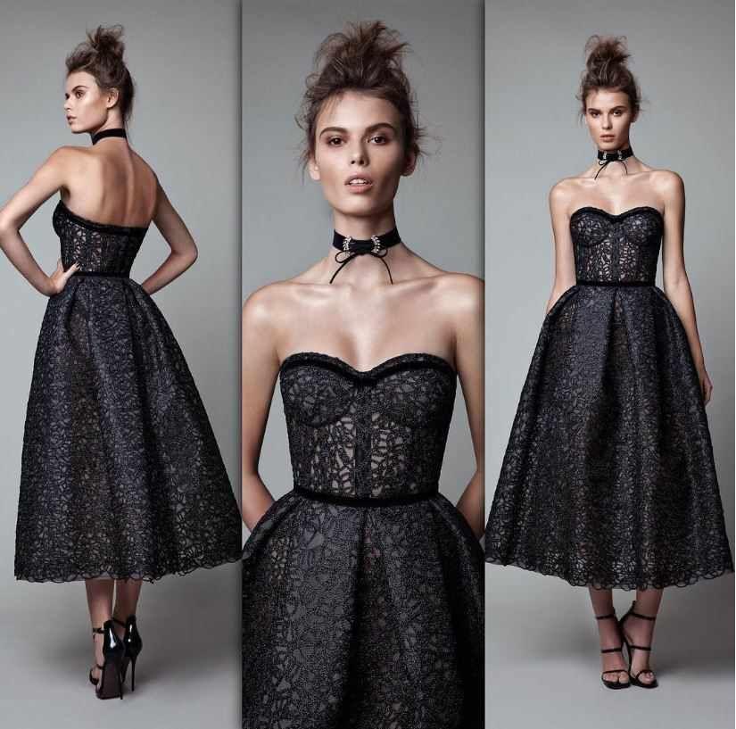 2021 Gece Elbiseleri Berta Straplez Siyah Dantel Abiye Elbise The Dress Aksamustu Giysileri Nedime Giysileri