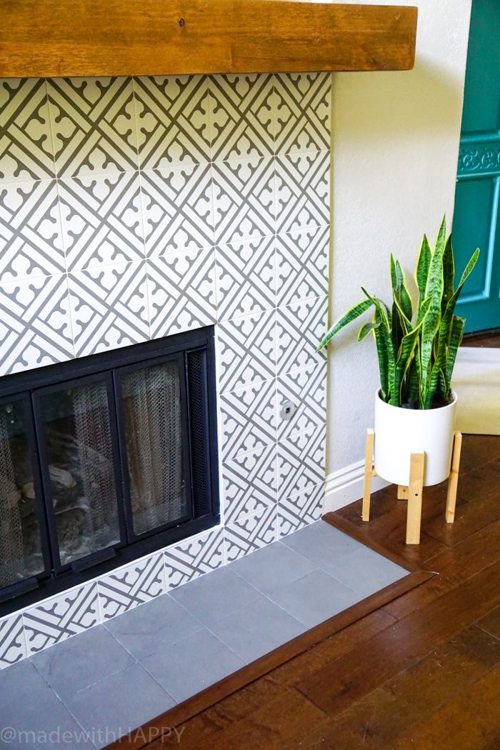 Modern Fireplace Makeover. Just Like Cement Tile Fireplace, But Portuguese  Ceramic Tile Fireplace.