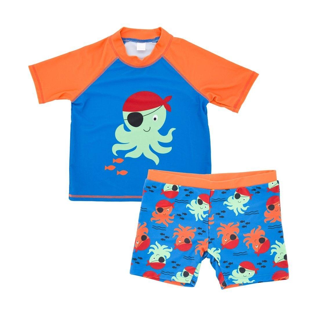 5b74d6071c Baby Toddler Boys Swim Set Kids Swimsuits Boys Two Pieces UV Protective  Swimwear Rash Guard - Octopus - CU18E4625CE - Boys' Clothing, Swim, Swimwear  Sets ...