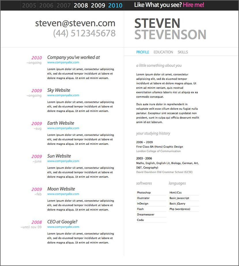 Free Microsoft Word Doc Professional Job Resume and CV Templates - microsoft word 2010 resume template