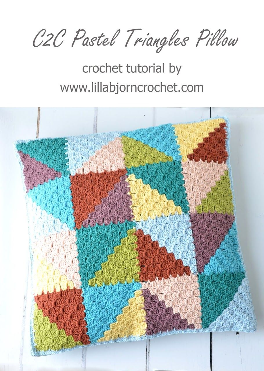 Pastel Triangles Pillow: join-as-you-go in C2C crochet (video ...