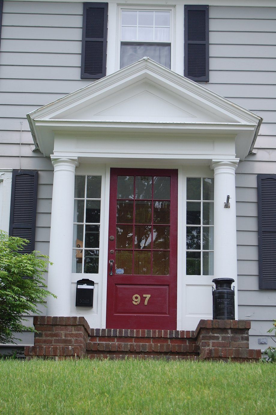 Red Brick House With Shutters Front Porches
