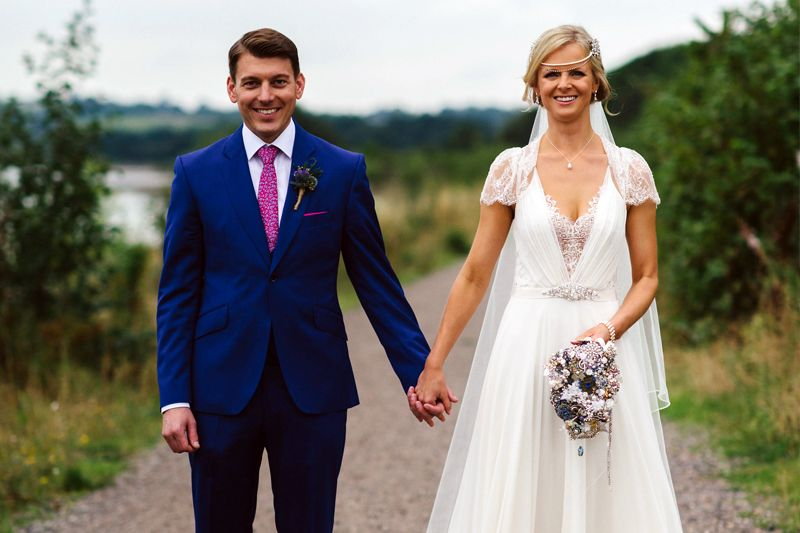 bright navy grooms suit with lilac tie and pocket square | Wedding ...