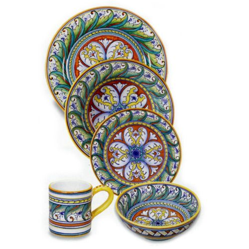 Our Deruta collection of Italian dinnerware is beautiful on your table when set\u2026  sc 1 st  Pinterest & Italian Tableware | Geometrico Deruta Italian Dinnerware Place ...
