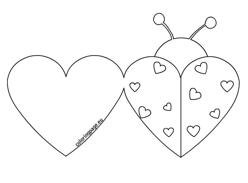 Ladybug Valentine Cards Coloring Page Mug Rugs Table Runners