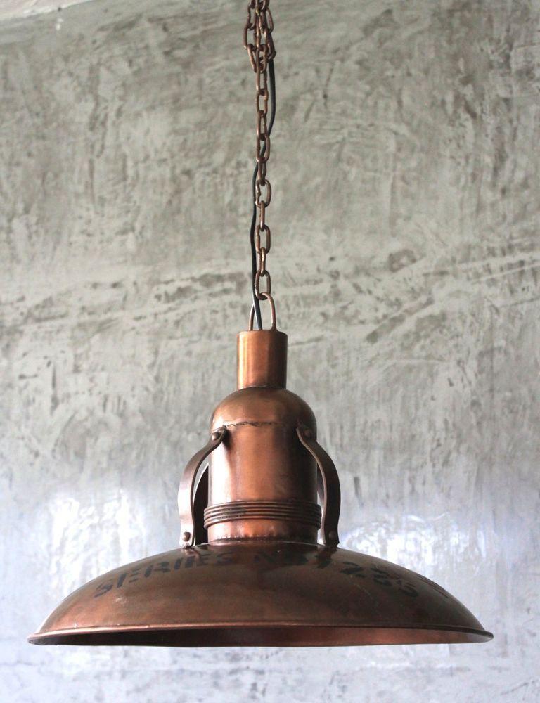 Hnge Lampe  43 cm Alte Industrielampe Emaille Loftlampe