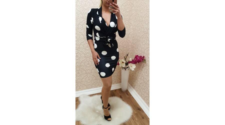 452217ae6a69 Pöttyös ruha + öv - Ruha - Luna Gardrobe Női ruha WebÁruház, Akciós - olcsó