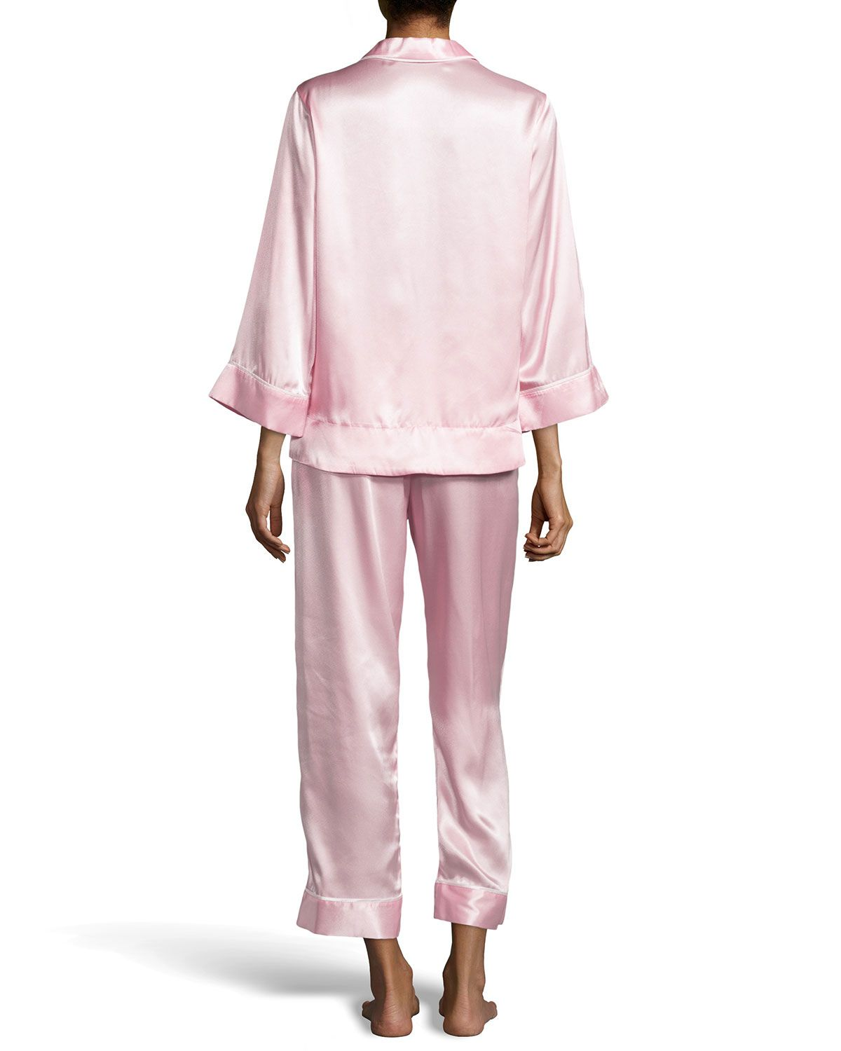 Romantic Holiday Satin Pajamas, Petal Pink