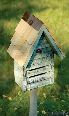 Heartwood Lady Bug House w/ Mounting Pole, Grey at BestNest.com