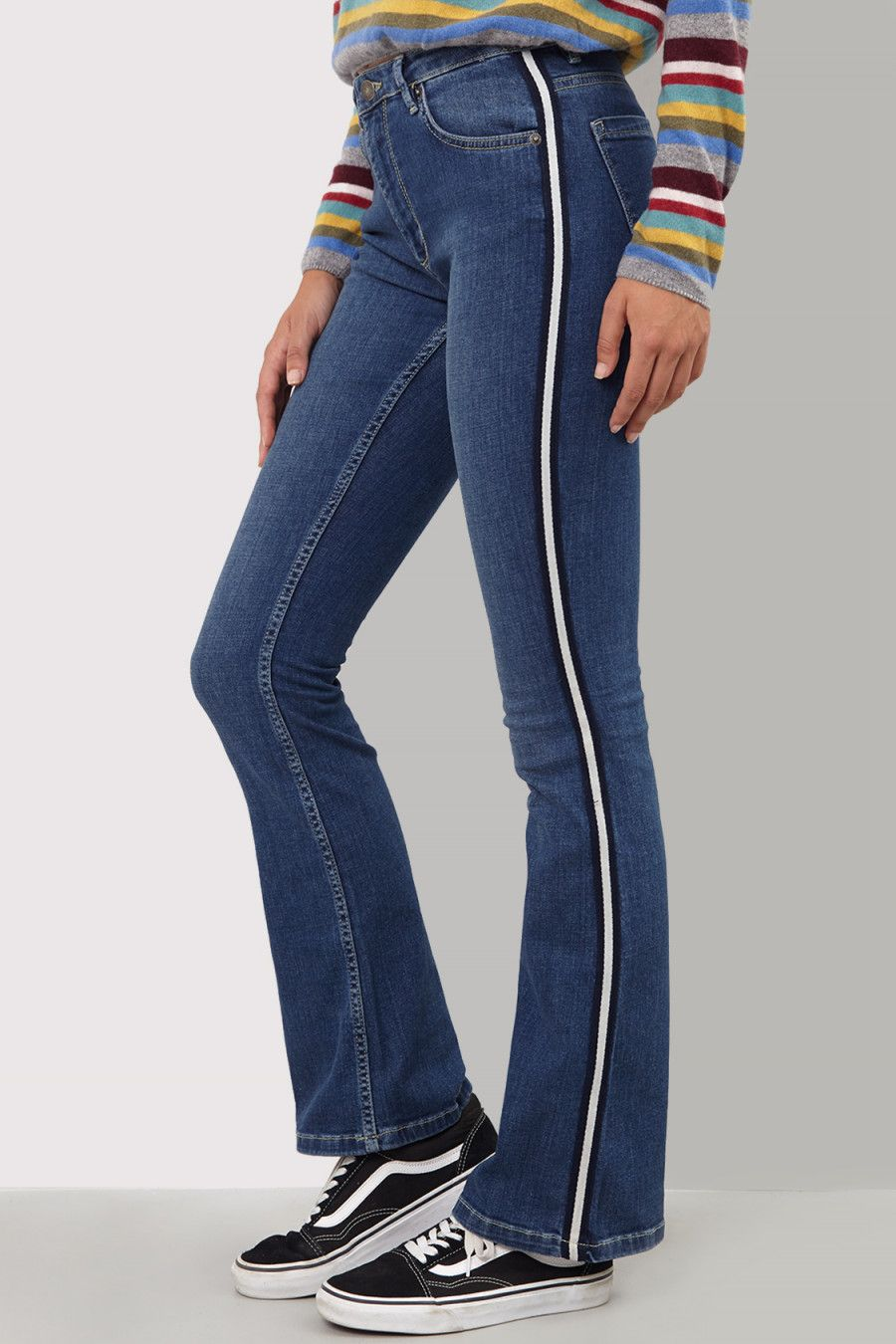 034d628815f Flared Jeans with Stripe down the side