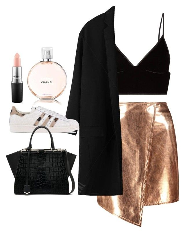 """""""Untitled #206"""" by sharonxox ❤ liked on Polyvore featuring Boohoo, T By Alexander Wang, adidas Originals, Fendi, Chanel and MAC Cosmetics"""