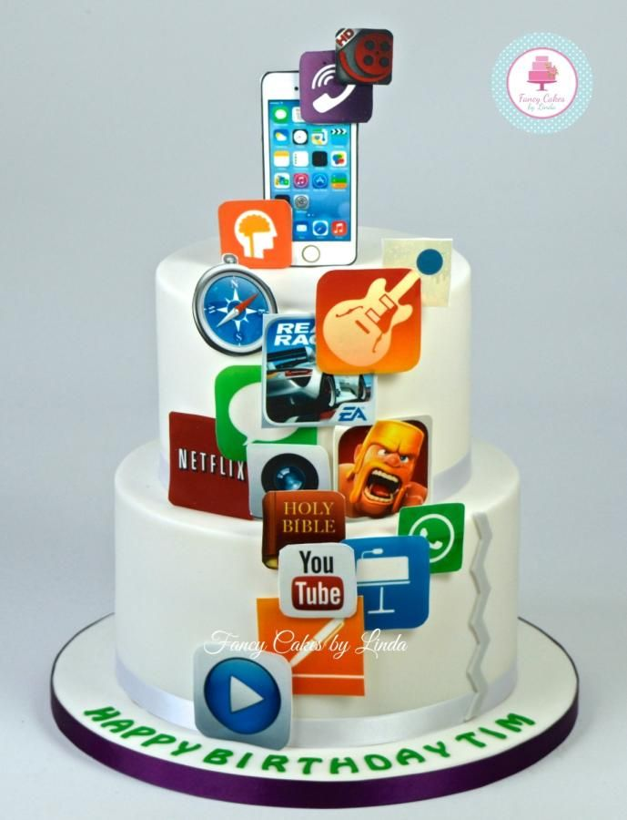 Marvelous Iphone App Birthday Cake Cake By Fancy Cakes By Linda Torturi Personalised Birthday Cards Xaembasilily Jamesorg