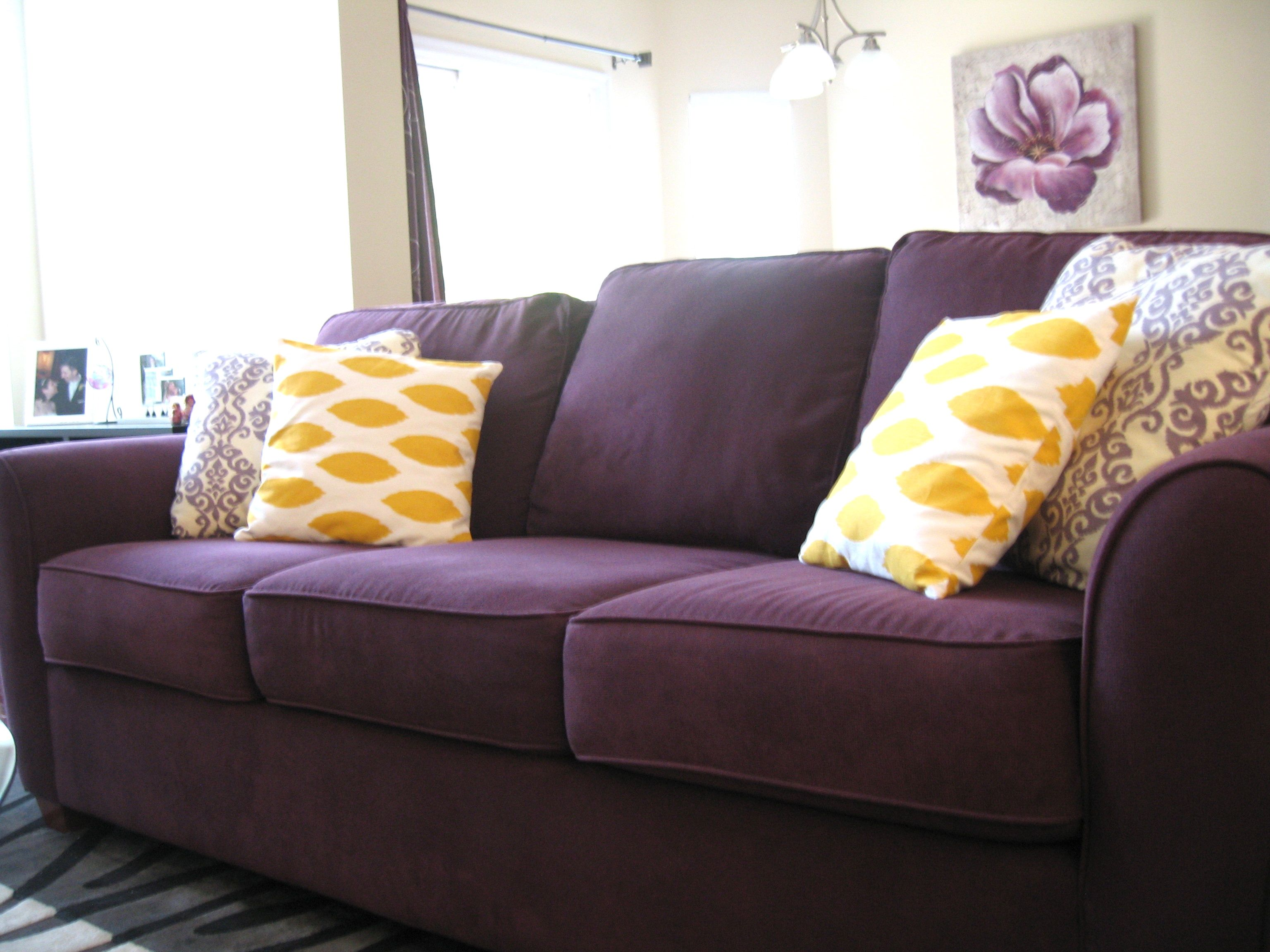 Navy blue and yellow decorative pillows - I Love My Purple Couch But It Desperately Needs Some Throw Pillows Like This