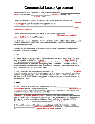 Wondershare Pdfelement Commercial Lease Agreement Template Free Download Create Fill Rental Agreement Templates Lease Agreement Lease Agreement Free Printable