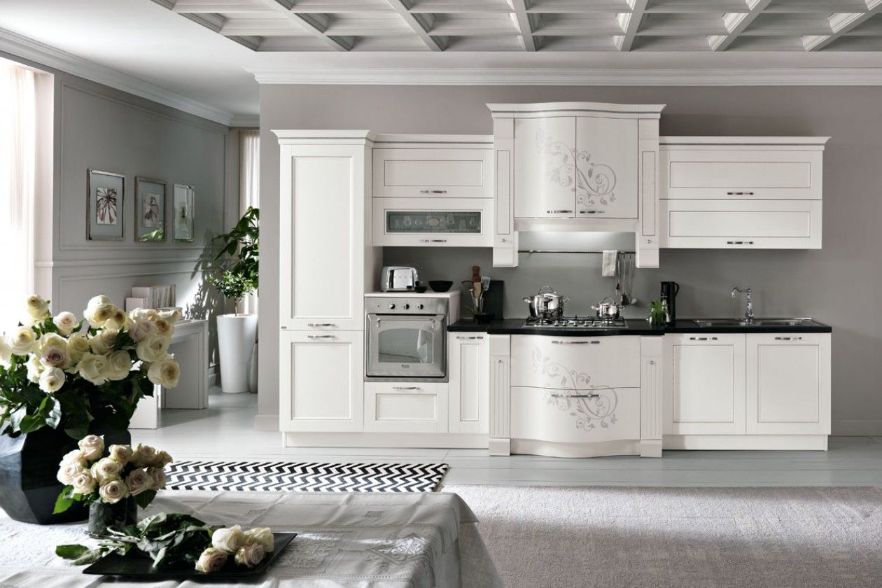 Prestige Kitchen In White With Swarovski Crystal Classic Kitchens Kitchen Cabinets Showroom Kitchen
