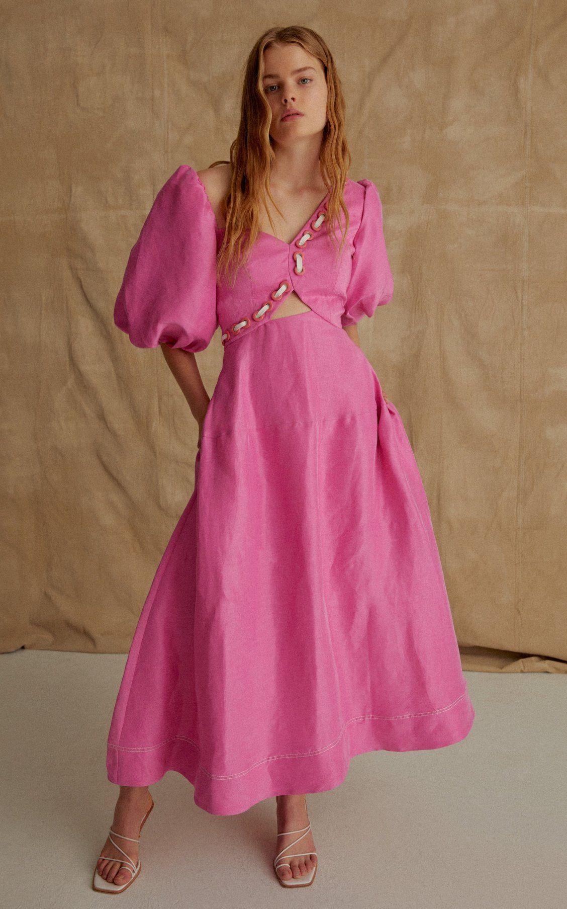 Moda Operandi Spring Summer 2020 Aje Pink Gathered Cotton Blend Smock Mini Silhouette Cinched Detail V Neck Puffed Sle Dresses Midi Dress Fashion Outfits [ 1807 x 1128 Pixel ]