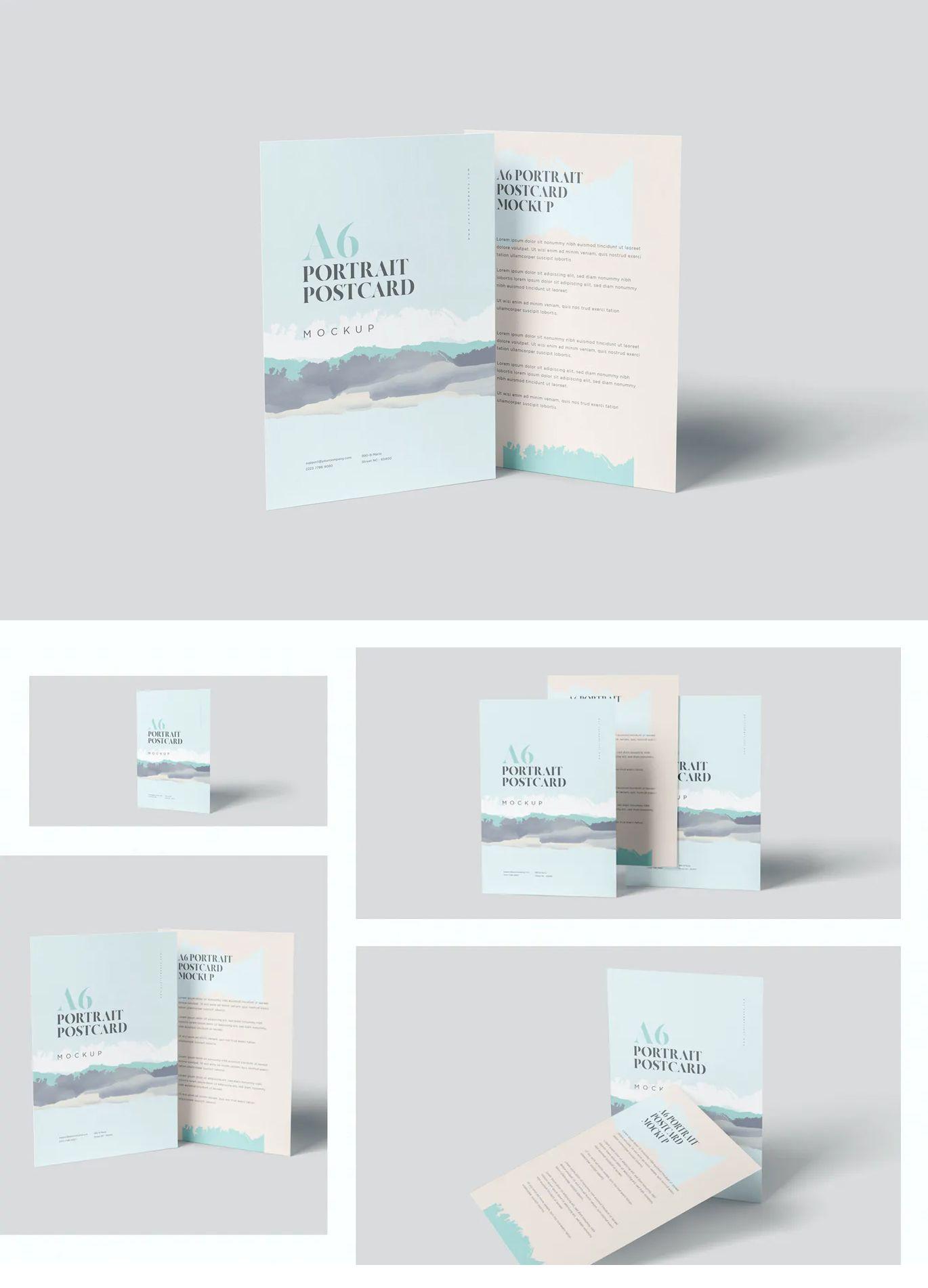 Single Page Post Card Mockups Postcard Mockup Design Design Template