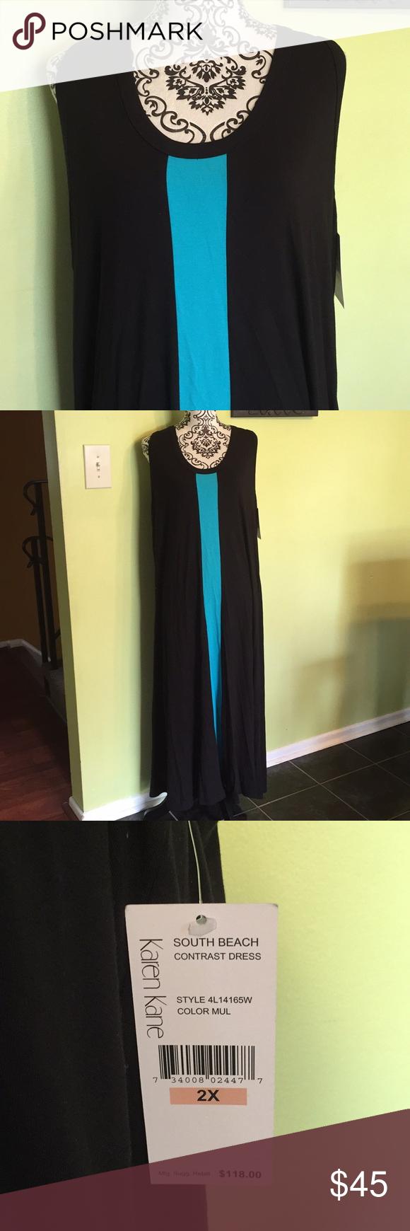 Nwt Karen Kane Maxi Dress Beautiful Black Maxi With Turquoise Vertical Strip Down The Front Middle Can Be Easi Contrast Dress Karen Kane Dress Clothes Design [ 1740 x 580 Pixel ]