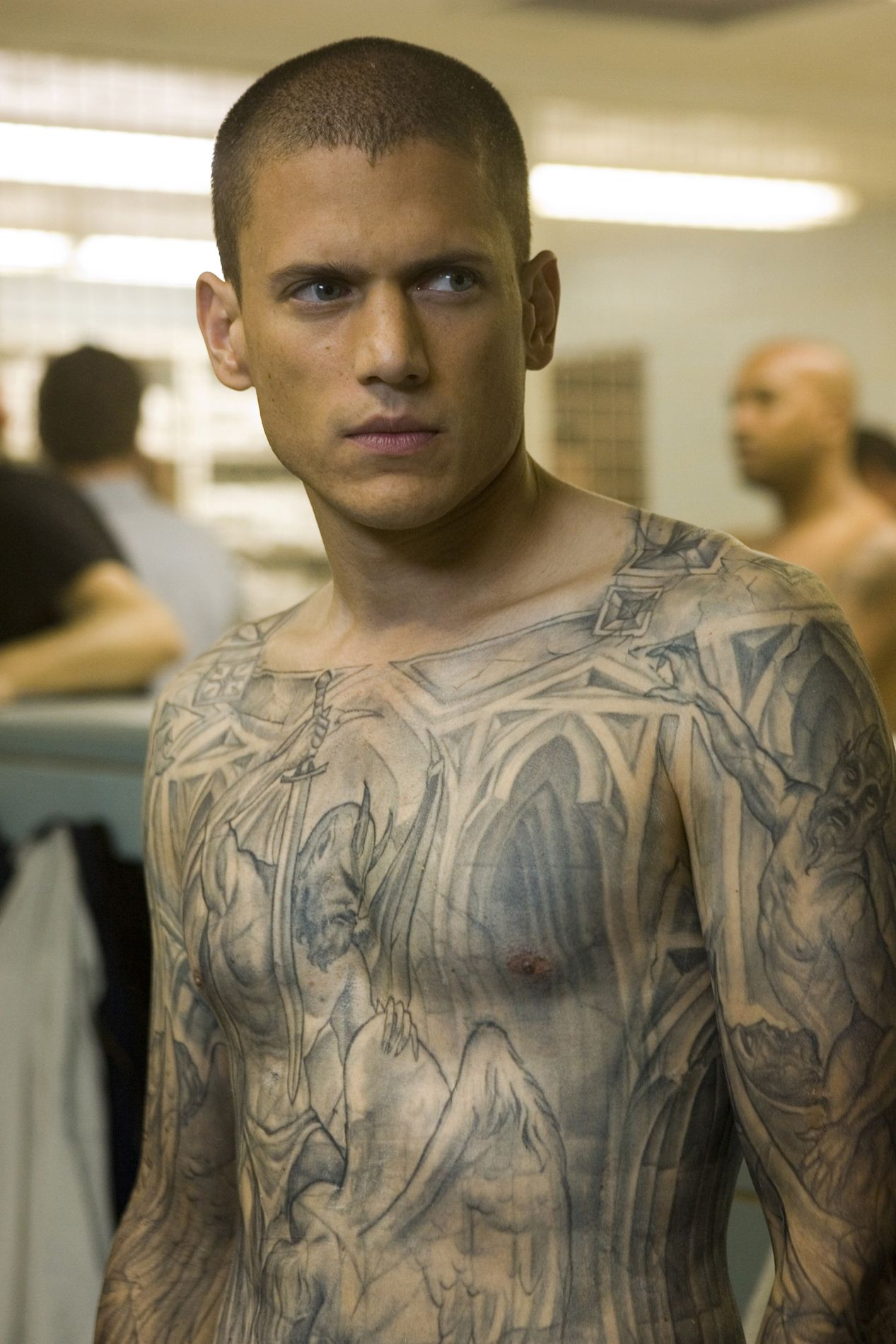 Micheal Scoofield - Wentworth Miller, Prison Break, tattoo, body art, ink, skin, sexy guy, tv series, portrait, photo