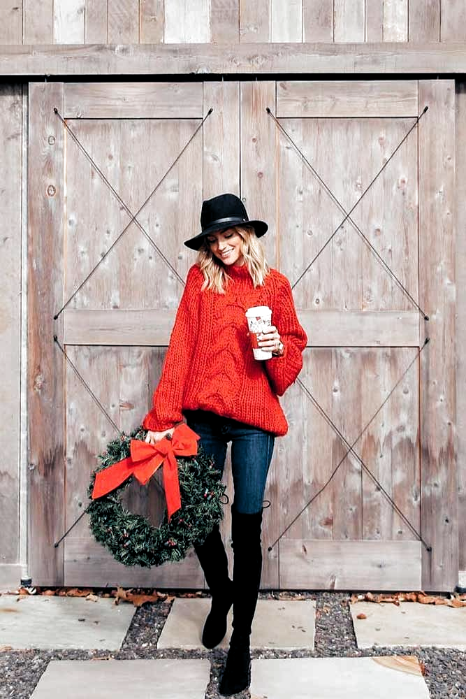 Eager for some cute ideas of Christmas outfits for women? Whether you want to look dressy or cozy for your fancy party, pick out the style that flatters you best, from a casual sweater and jeans to a classy dress. #glaminati #christmasoutfits #redsweater #christmaslook
