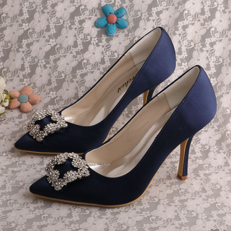 (20 Colors)Wedopus Women Pointed Shoes High Heels Navy Blue Satin Party Evening  Shoes Wedding 211fb8c90561