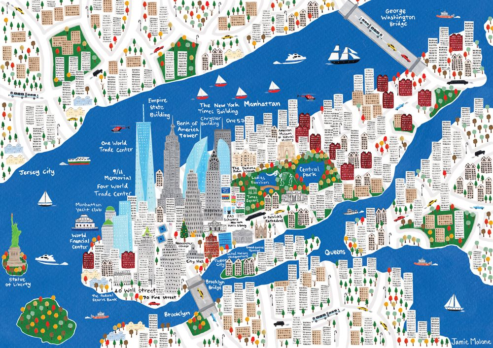 Jamie Malone Map Of New York Mapas Ilustrados