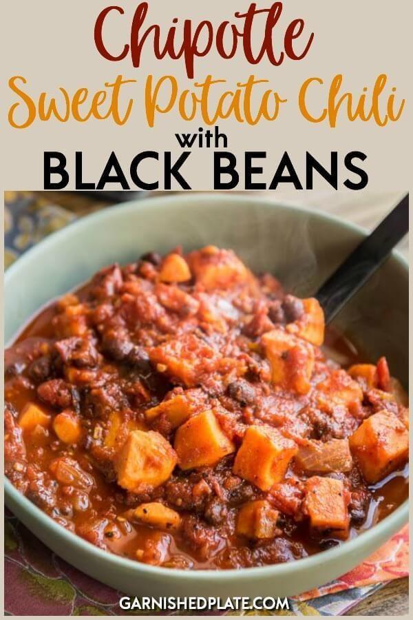 Chipotle Sweet Potato Chili with Black Beans #veggiechilirecipe