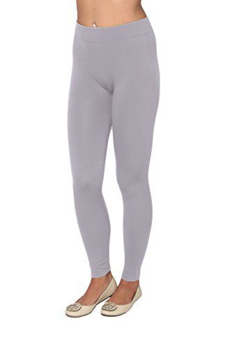 Active Club Solid Color Brushed Fleece Tights Leggings…