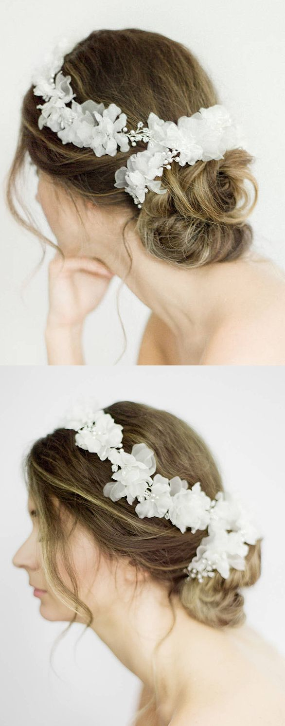 Wedding Bridal Couture White Silk Flowers Floral Hair Vine Flower