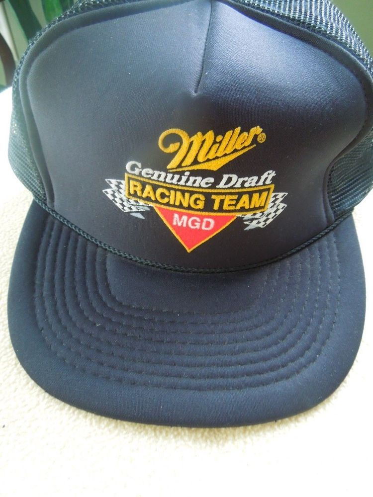 3e9efa1123a Miller Draft Racing Team Snapback Hat MGD Trucker Cap Foam Mesh Beer Vintage