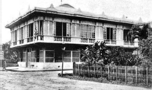 The historic Pamintuan residence, used as headquarters by the 12th U.S. Infantry Regiment and afterwards by the 1st U.S. Division. The house was previously the head- quarters of General Venancio Concepcion, General Antonio Luna and official residence of President Emilio Aguinaldo from May 1899 to June 1899. During the Second World War, it was commandeered for quartersby Japanese occupation soldiers.[PHOTO was taken on Aug. 18, 1899].